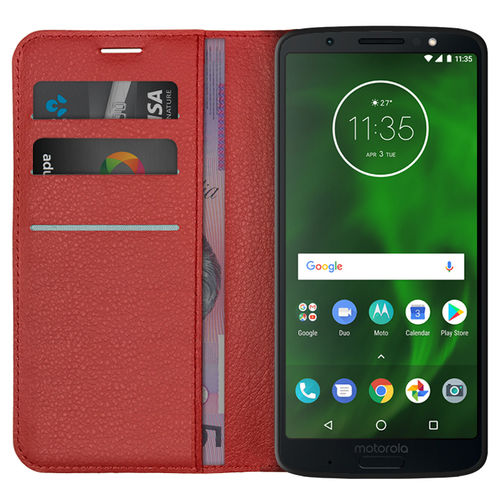 Leather Wallet Case & Card Holder for Motorola Moto G6 Plus - Red